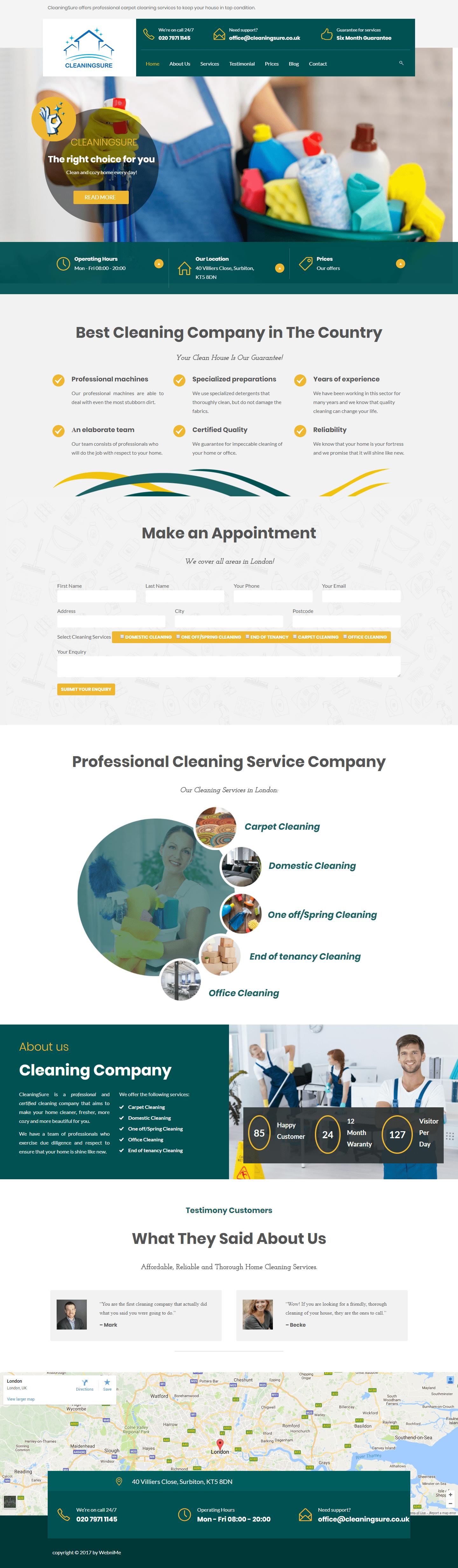 Web sajt za usluge profesionalnog čišćenja