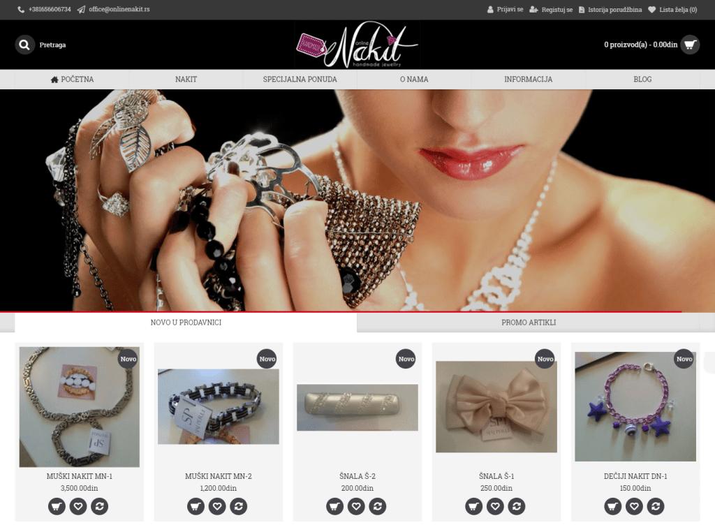 Web sajt za online prodaju nakita