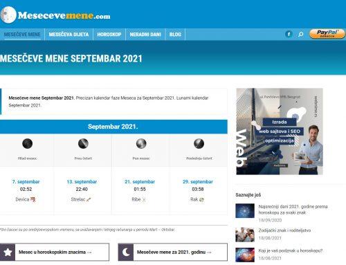 Izrada sajta – Mesecevemene.com